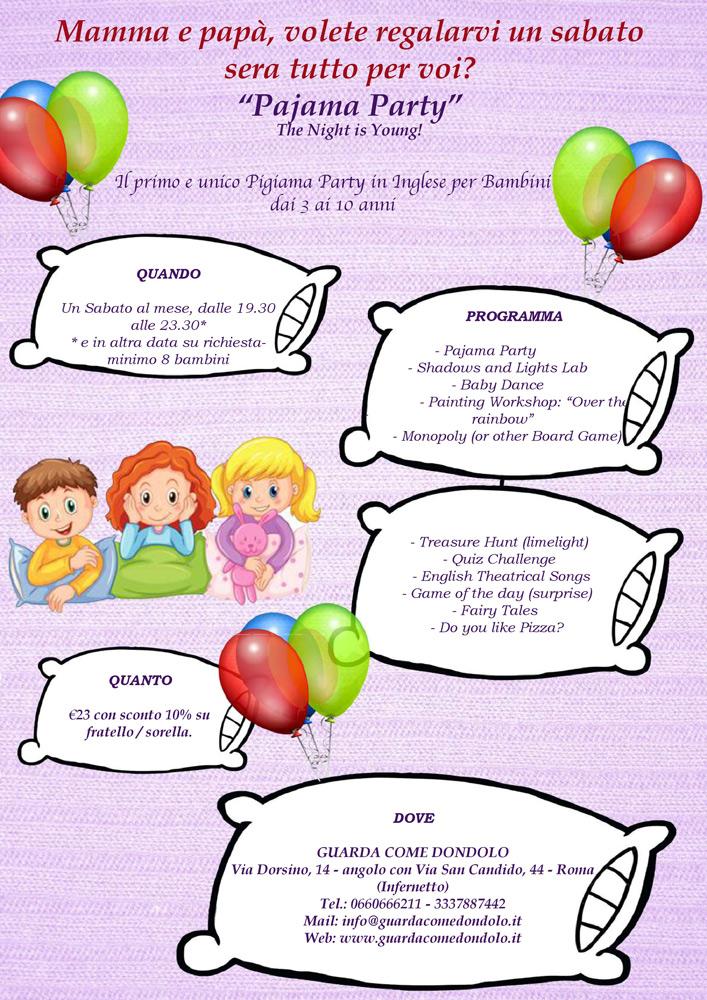 PIGIAMA PARTY per Bambini 3-10 anni
